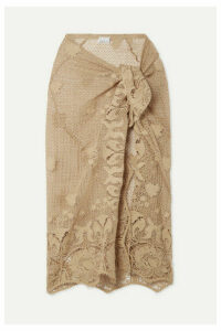Miguelina - Layna Scalloped Cotton Guipure Lace Pareo - Beige