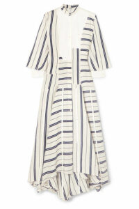 Loewe - Asymmetric Striped Linen And Cotton-blend Maxi Dress - White