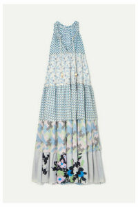Yvonne S - Hippy Tiered Printed Cotton Maxi Dress - Light blue