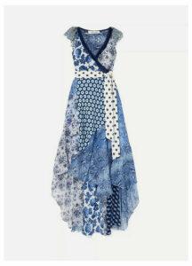 Diane von Furstenberg - Ava Printed Lace, Silk Crepe De Chine And Crinkled-chiffon Wrap Dress - Blue