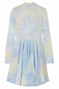 Stella McCartney - Tie-dyed Pleated Satin-crepe Mini Dress - Blue