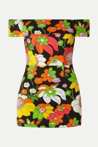 Dodo Bar Or - Off-the-shoulder Floral-print Mini Dress - Black