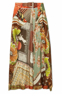 Chloé - Printed Silk-satin Wrap-effect Skirt - Orange