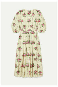 Emilia Wickstead - Pleated Floral-print Cotton Midi Dress - Yellow