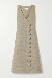 JW Anderson - Crocheted Lace And Poplin-trimmed Striped Cotton-blend Gauze Mini Dress - Off-white