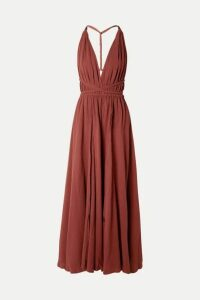 Caravana - Hera Leather-trimmed Cotton-gauze Halterneck Maxi Dress - Burgundy