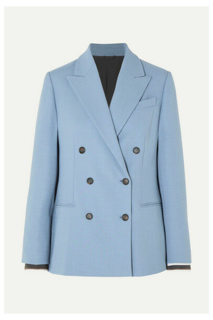 Brunello Cucinelli - Double-breasted Wool-blend Blazer - Light blue