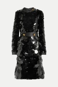 Prada - Belted Silk-trimmed Embellished Chiffon Dress - Black