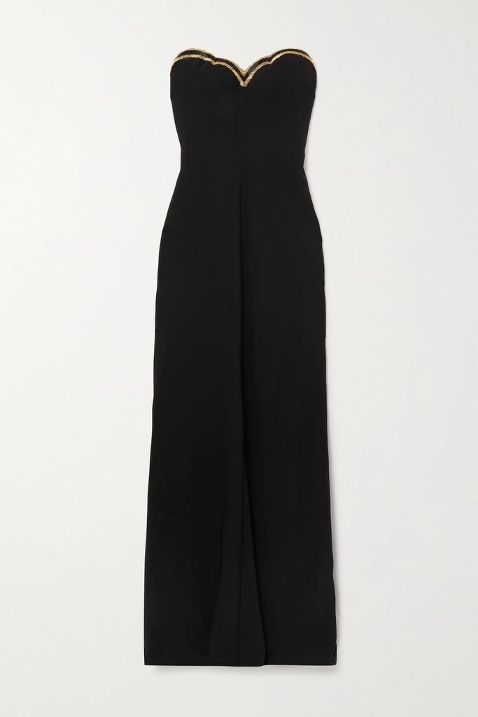 Cecilie Bahnsen - Ruth Tiered Ruched Taffeta Midi Dress - Black