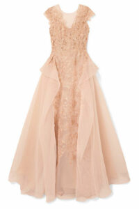 Marchesa - Guipure Lace, Tulle And Organza Gown - Blush