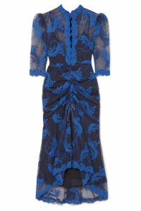 alice McCALL - Honeymoon Ruched Embroidered Tulle Midi Dress - Indigo