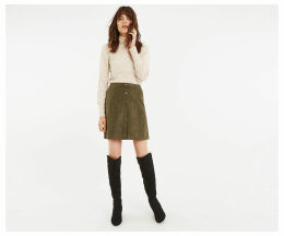 Faux Suede Popper Skirt