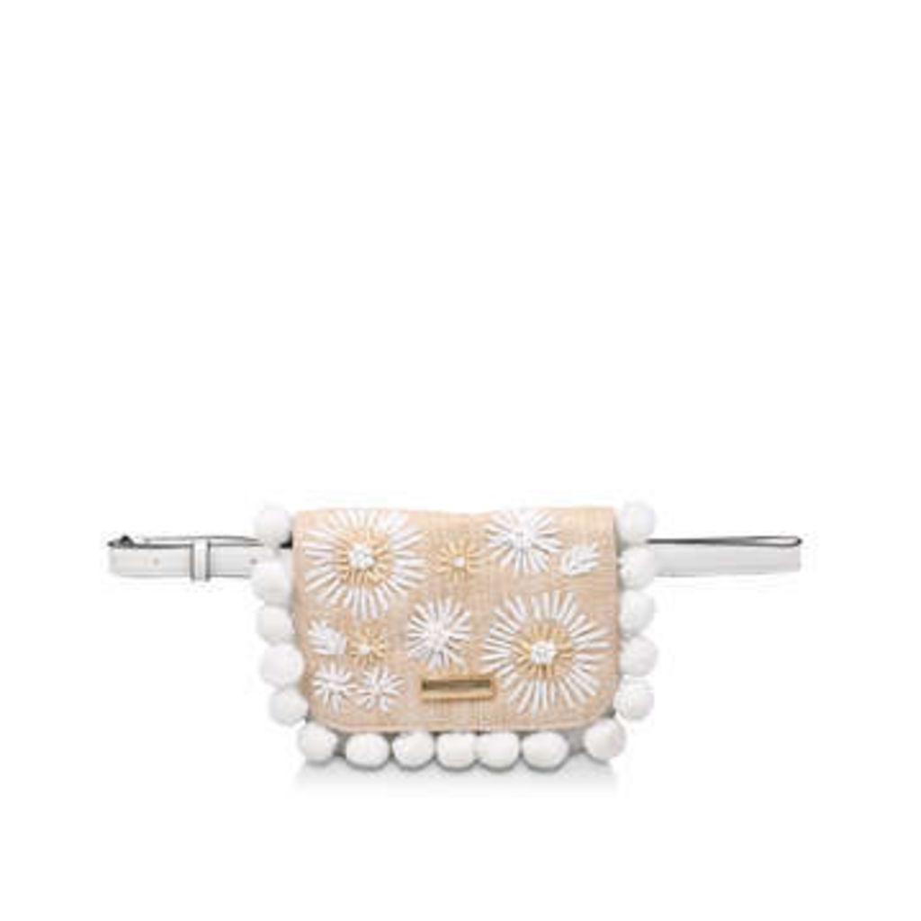 Aldo Snowbell - White Embroidered Pom Pom Belt Bag