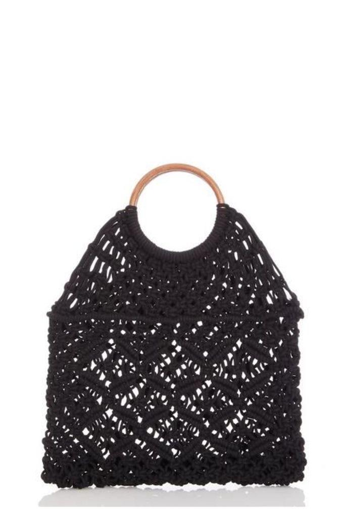 Quiz Black Crochet Circle Handle Bag