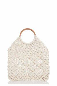 Quiz Cream Crochet Circle Handle Bag