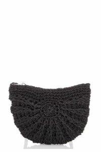 Quiz Black Woven Cross Body Bag