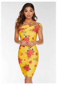 Quiz Yellow and Orange Floral Asymmetric Dress