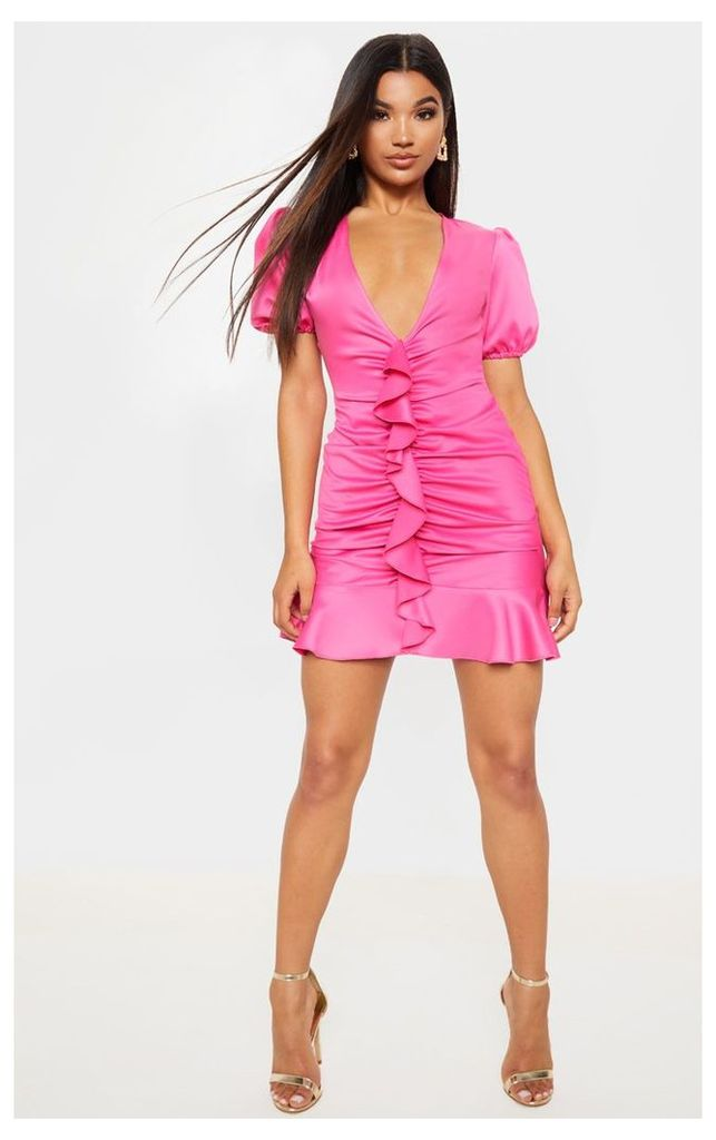 Hot Pink Puff Sleeve Frill Bodycon Dress, Hot Pink