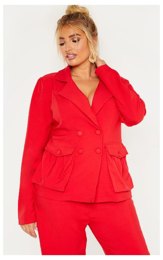 Plus Red Double Breasted Pocket Detail Blazer, Red