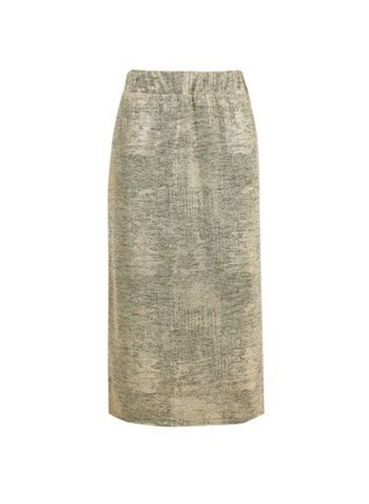Womens Gold Shimmer Tie Front Midi Skirt- Gold, Gold