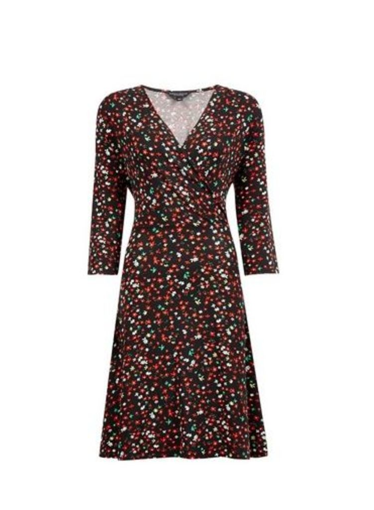 Womens Multi Colour Ditsy Floral Print Wrap Dress- Black, Black