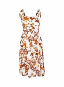 Womens Ivory Floral Print Camisole Dress- White, White