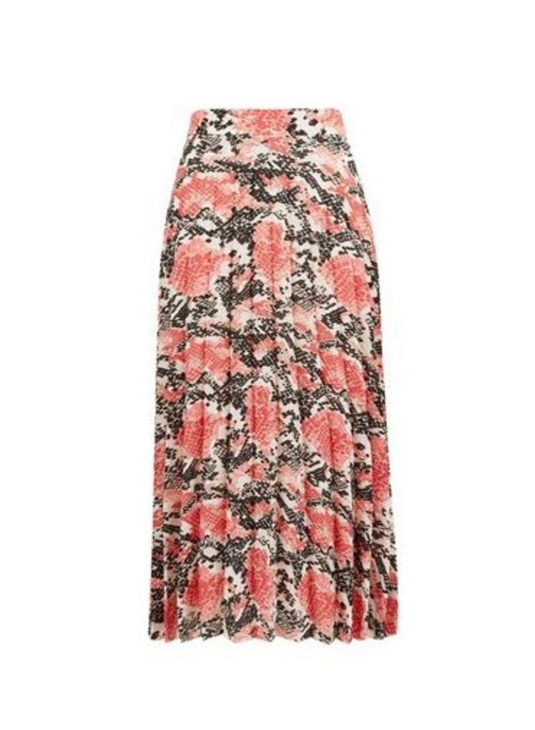 Womens Coral Animal Print Pleated Midi Skirt- Multi Colour, Multi Colour