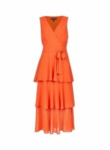 Womens Coral Tiered Tie Waist Midi Dress- Coral, Coral