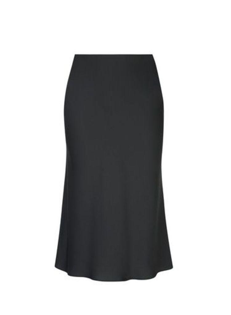 Womens Petite Black Satin Bias Cut Midi Skirt- Black, Black
