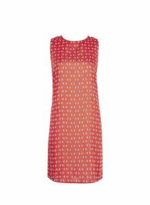 Womens **Red Sleeveless Tie Back Shift Dress- Red, Red