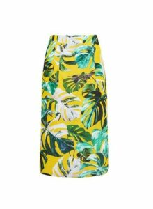 Womens Yellow With Green Leaf Print Midi Skirt- Multi Colour, Multi Colour