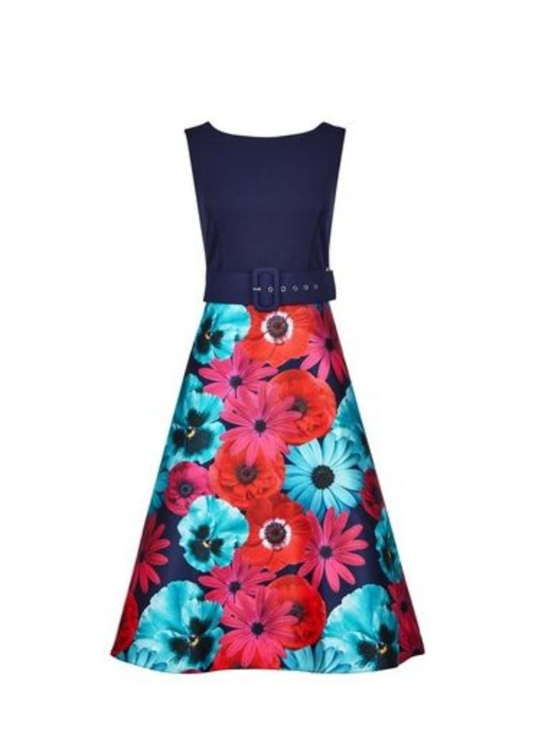 Womens **Luxe Multi Colour Floral Print Belted Midi Dress- Blue, Blue