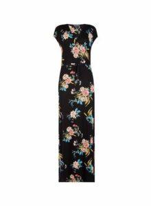 Womens **Tall Black Floral Print Wrap Maxi Dress- Black, Black