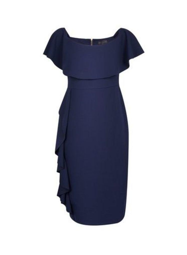 Womens **Luxe Navy Frill Badot Bodycon Dress- Blue, Blue