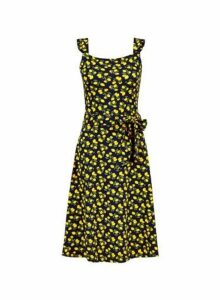 Womens **Tall Lemon Print Skater Dress- Yellow, Yellow