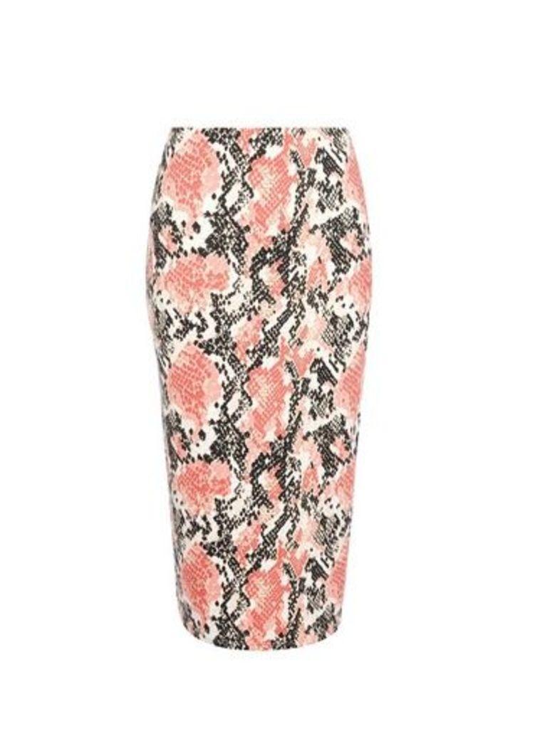 Womens Multi Coloured Coral Snake Print Pencil Skirt- Multi, Multi