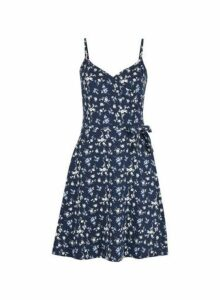 Womens Navy Ditsy Print Wrap Dress- Blue, Blue
