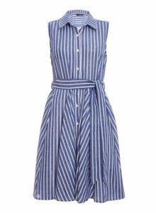 Womens *Quiz Blue Striped Dip Hem Shirt Dress- Blue, Blue