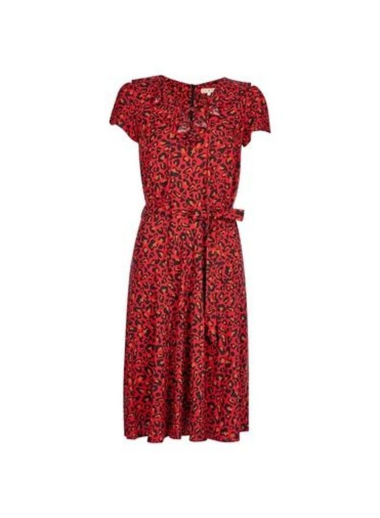 Womens **Billie & Blossom Red Leopard Print Ruffle Dress- Red, Red