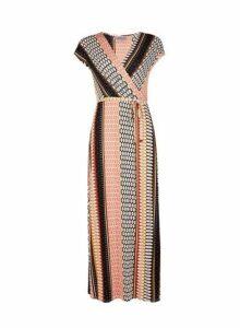 Womens Petite Multi Colour Geometric Print Maxi Dress- Black., Black