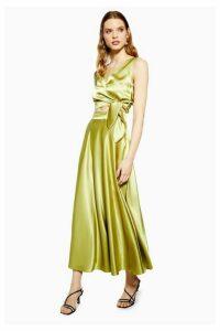 Womens Olive Satin Full Circle Midi Skirt - Olive, Olive