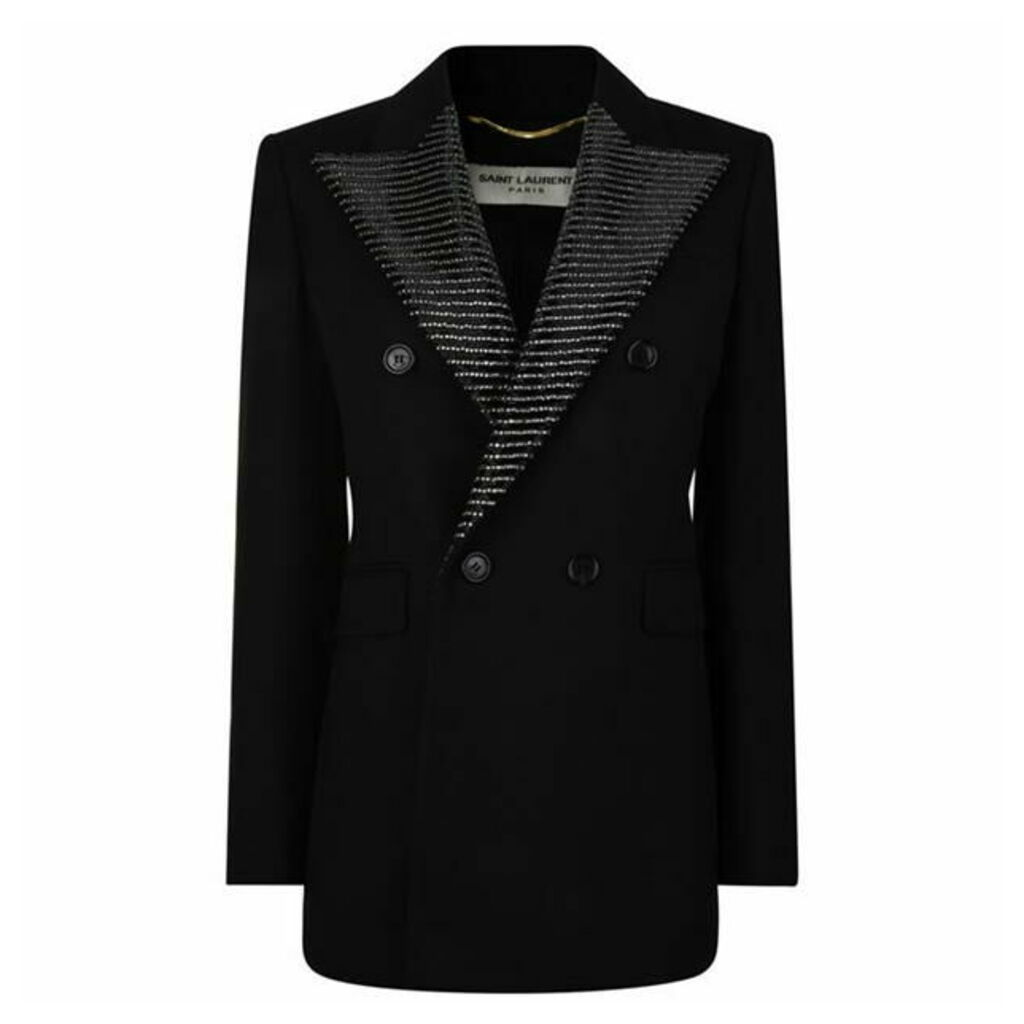 SAINT LAURENT Bead Crystal Collar Blazer