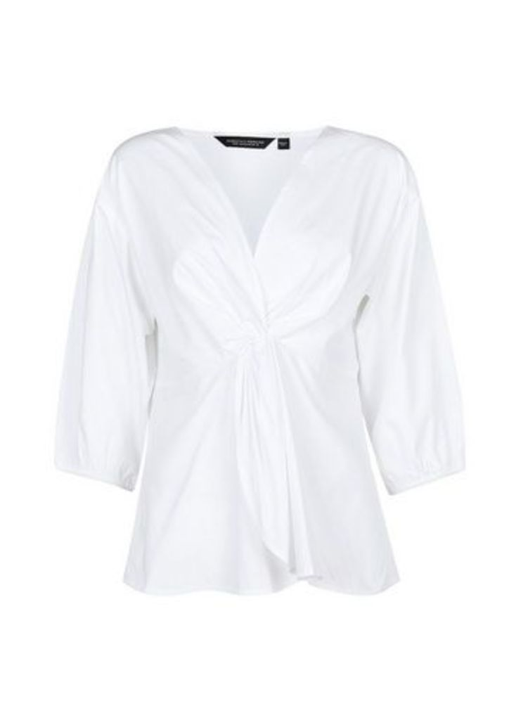 Womens White Peplum Top- White, White