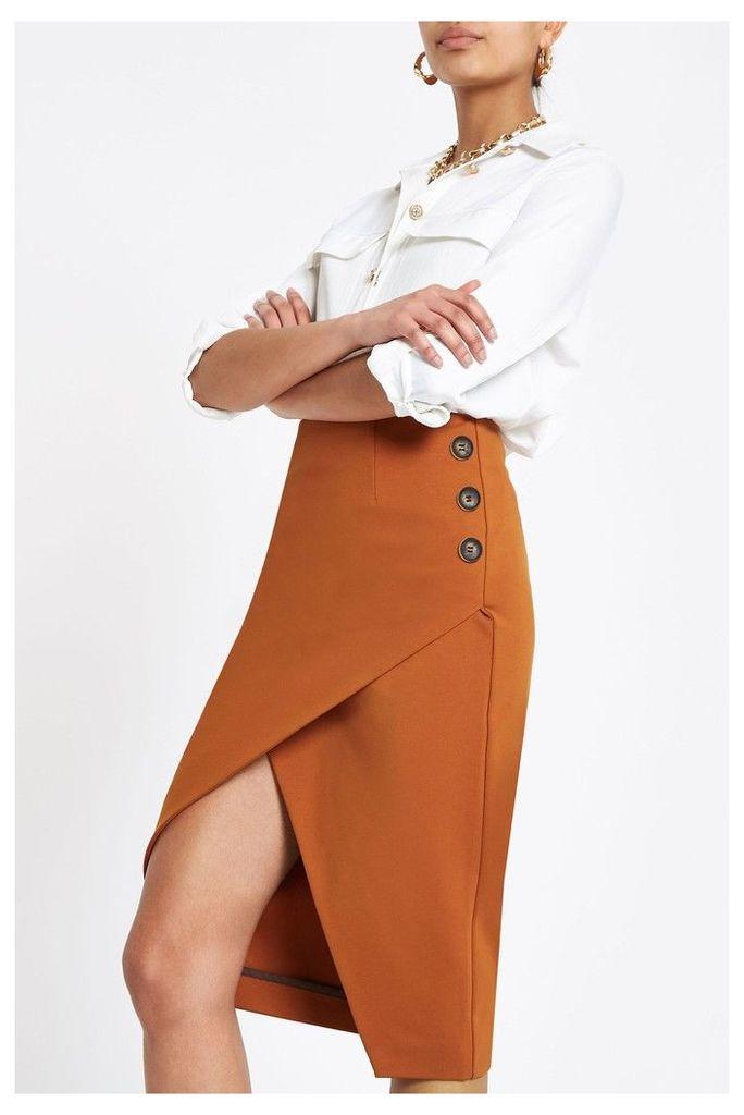 Womens River Island Copper Wrap Button Detail Pencil Skirt -  Brown