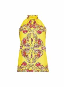 Womens Yellow Paisley Print Halter Neck Top- Orange, Orange