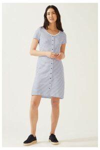 Womens Jigsaw Blue Button Through Jersey Dress -  Blue