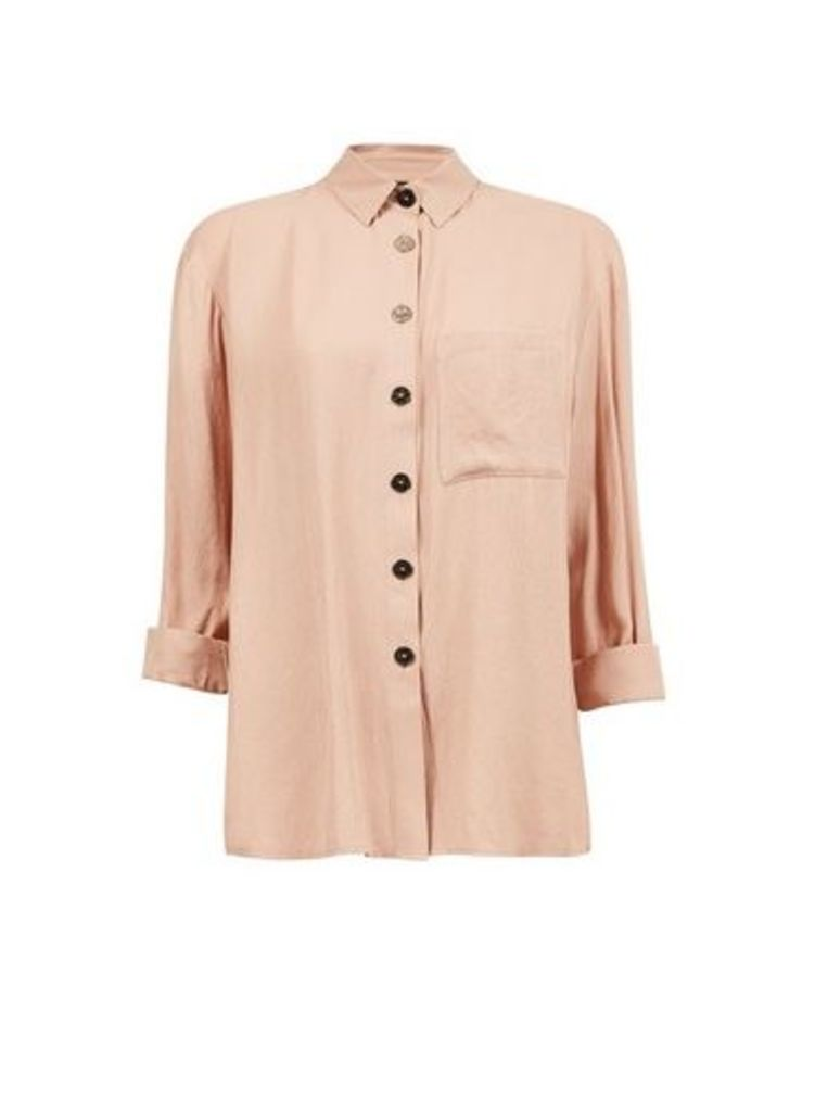 Womens Camel Gold Button Shirt- White, White