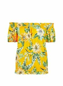 Womens Yellow Tropical Print Bardot Top- Yellow, Yellow