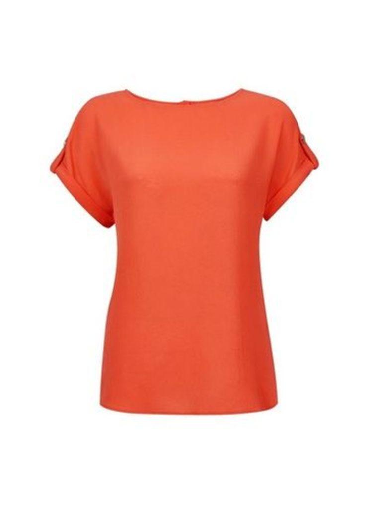 Womens Dark Coral Button T-Shirt- Coral, Coral