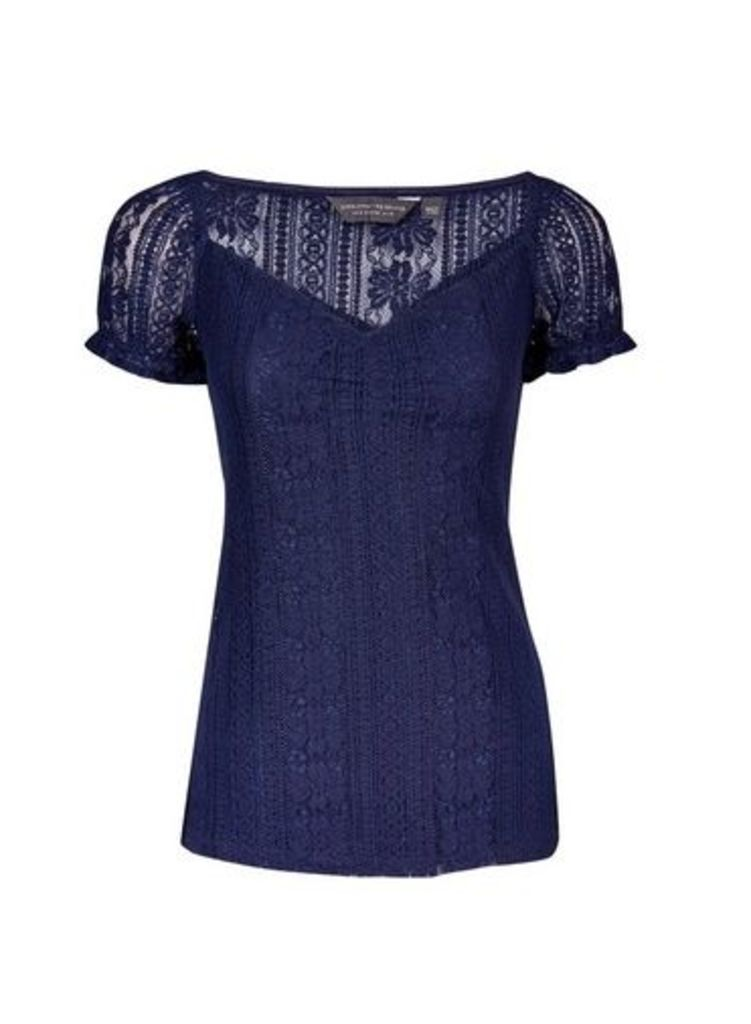 Womens **Tall Navy Lace Milkmaid Top- Blue, Blue